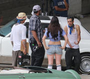Lana Del Rey - wearing shorts on the set of a music video in LA 06/30/13