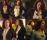 Joanne Kelly tight suit Curvy leggy dress Warehouse13 eps 7 and 8 (CollageX2)